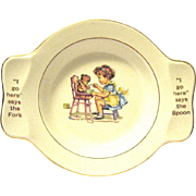 "Vintage Child's Vintage Ceramic Feeding Dish, ""My Own Plate"", Made for Holmes and Edwards"
