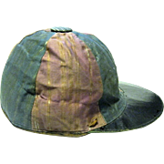 1880s Jockey's Silk Racing Cap for a Youth, Leatherette Visor, Leather Band Inside