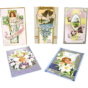Five Early Easter Postcards, 1909-1913, Sent to Same Family