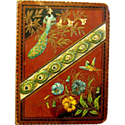 Antique Victorian Scrapbook with Beautiful Peacock Cover, 44 Pages