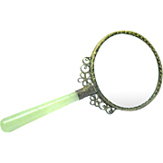 Vintage Magnifying Glass with Jade Handle