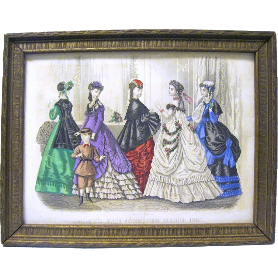 Authentic Hand Colored Godeys Fashion Print 1869 Framed