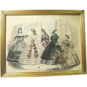 Hand Colored Godey's Fashion Print, ca. 1860s, Framed