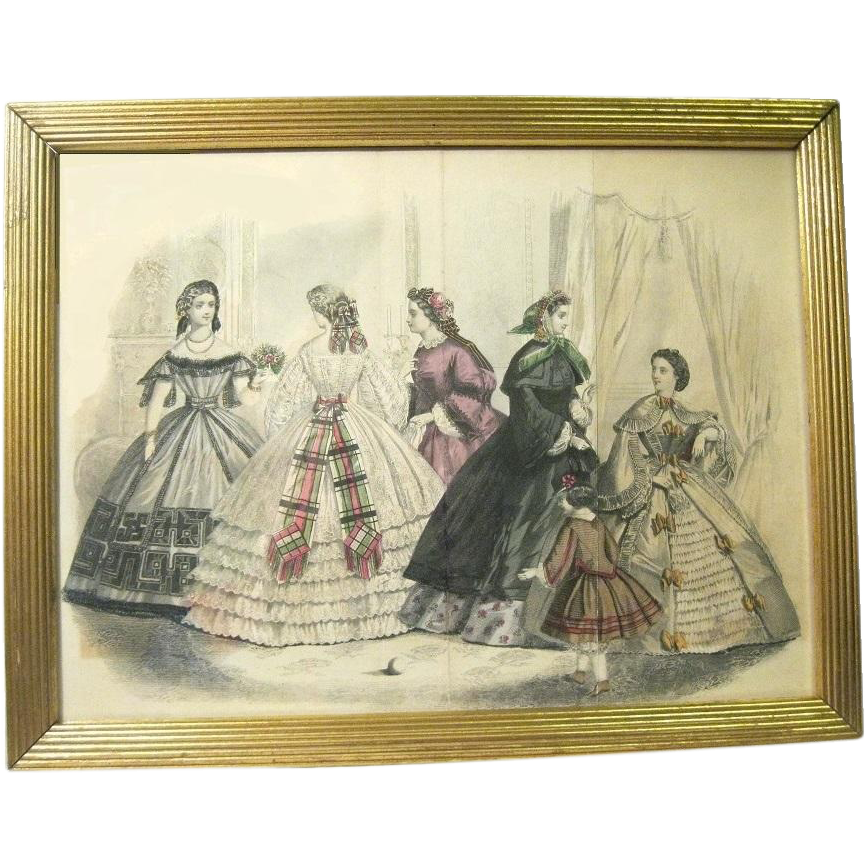 Hand Colored Godeys Fashion Print Ca 1860s Framed