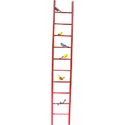 Miniature Red Vintage Wood Ladder with Tiny Carved Birds