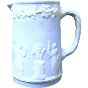 Miniature Vintage Jasperware blue and White Jug with Classic Figures