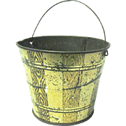 Vintage Miniature Lithographed Tin Pail with Wire Bail