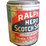 "Never Opened Vintage Snuff Container, ""Ralph's Hero Scotch Snuff"" with Revenue Stamp"