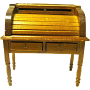 Miniature Vintage Roll Top Desk for Doll House