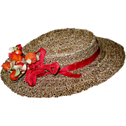 Vintage Ecru Straw Brimmed Doll Hat with Faux Rose Hips Trim