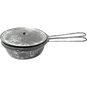 Doll's Early 20th Century Miniature Tin Lidded Four-piece Cooking Skillet