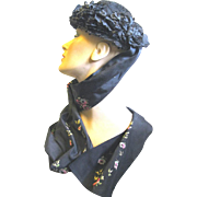 Black Victorian Lady's Bonnet with Fancy Ribbon Ties