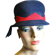 Vintage Patriotic Straw Bucket Hat in Red and Navy Blue