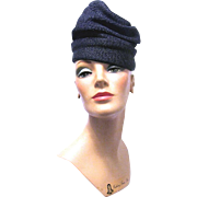 1940'S Navy Blue Straw Turban by Sally Victor