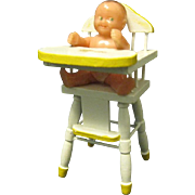 Tiny 1950's Plastic Articulated Renwal Dollhouse Baby in High Chair