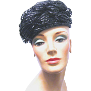 A 1960's Dajon, New York, Shiny Straw Pillbox Hat, from Engel-Fetzer, Cleveland