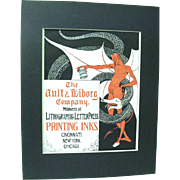 1902 Art Nouveau Poster Shows a Devil and Snake Advertising Ault & Wiborg Printing Inks