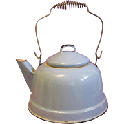 Turn of the Century Robin's Egg Blue Graniteware Tea Kettle and Lid