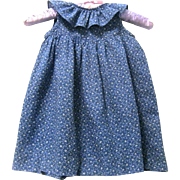 Little Girl's Post Civil War Summer Prairie Dress, Blue and White Cotton Print