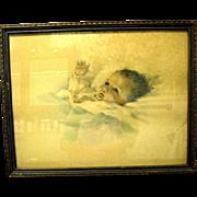 "Bessie Pease Gutmann Baby Print, ""Awakening"", in Original Frame, 1918"