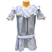 Dropped Waist, Lace Trimmed Child's Blue Cotton 1900's Dress