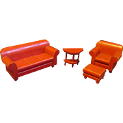1931 Vintage Strombecker Wooden Chesterfield Sofa, Arm Chair, Ottoman, End Table