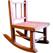 Bubble Gum Pink Depression Era Primitive Doll Rocking Chair