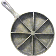 Vintage Cast Iron Handled Cornbread Skillet with Eight Wedge Shaped Segments