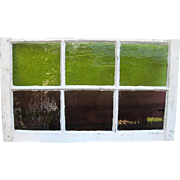 Very Old Rectangular Window with Six Amethyst and Green Stained Glass Panes
