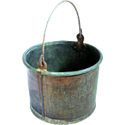 Child Size Early Rustic Copper Berry Bucket, Swing Handle, Great Patina