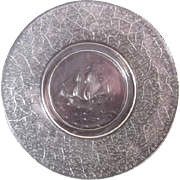 Vintage Pressed Clear Glass Plate, Clipper Ship in Center