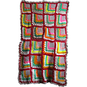 """Small Granny Style Vintage """"Fan"""" Afghan for Doll Crib or Bed"""