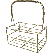 19th Century Wireware Miniature Bottle Carrier, in Old Red Paint