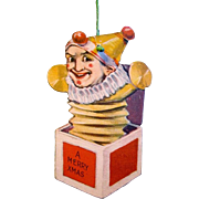 1915 American Made Paper Christmas Ornament, Die-cut, Two-side Lithographed Jack-in-the-Box