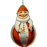 1915  Lithographed Paper Clown Christmas Ornament, Die-cut, Made in USA