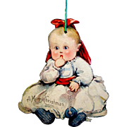 Vintage 1915 Die-cut, Double Sided Lithographed Paper Christmas Ornament, Baby Sucking Thumb, USA