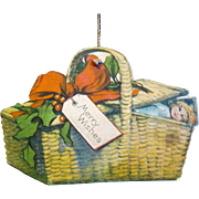 Vintage 1915 Lithographed, Die-cut, Double-sided Paper Christmas Basket Ornament, Made in USA