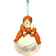Vintage 1915 American Made Lithographed Die-cut Paper Christmas Ornament, Boy on Huge Snowball