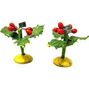 Pair of Vintage Miniature Christmas Candle Holders, Holly, Berries, on Round Wood Bases