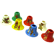 Vintage Set of Plastic Christmas Bell-shaped Light Bulb Covers, Mother Goose