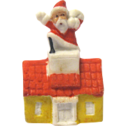 Vintage Bisque Snow Baby Santa Claus on Rooftop of House, Germany