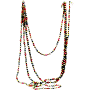A Pair of Mercury Glass Multi-colored Christmas Garlands with Larger Beads