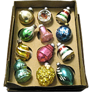 Box of 12 Vintage Shiny Brite Mercury Glass Ornaments, Made in USA