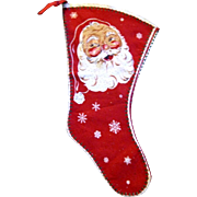 1940's Vintage Double Sided Christmas Stocking, Santa Claus, Candy Canes