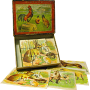 Original Boxed Vintage Picture Puzzle Blocks, Matching Lithographs