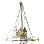 Early Wire Wrapped Sailing Ship Christmas Ornament, with Tree, Tinsel and Scrap