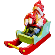 "Old 4"" Santa Claus Arrives Bearing gifts in Red and Green Sleigh"