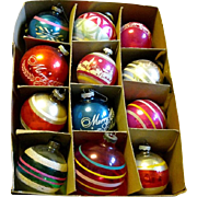 Box of 12 Large Shiny Brite glass christmas Ornaments, WWII