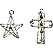 Pair of Vintage 1920's Beaded Glass Ornaments, Star, Cross