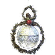Vintage Tinsel Trimmed Silver Foil Hanging Christmas Ornament/Candy Container